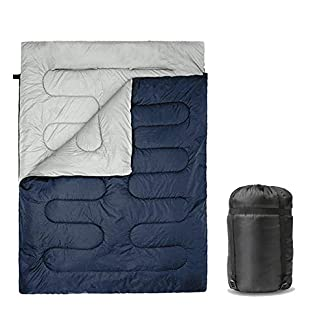 SUNMER 300GSM Double Sleeping Bag - King Size - Converts Into 2 Singles - 3-4 Season For Camping, Hiking, Outdoors |Waterproof | Navy 2