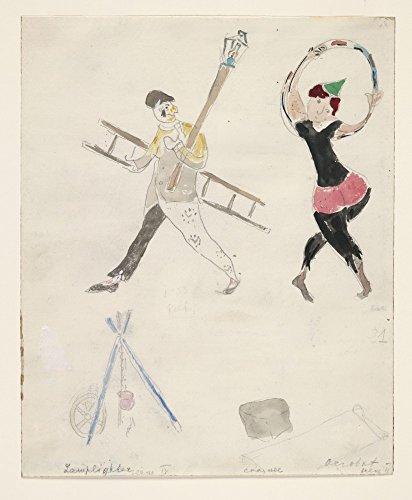 Das Museum Outlet–Marc Chagall–Ein Lamplighter und ein Acrobat, Kostüm Design für Aleko–Leinwanddruck Online kaufen (101,6x 127cm)