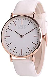 SP Quartz Leather Belt Analogue White Watch for Girls