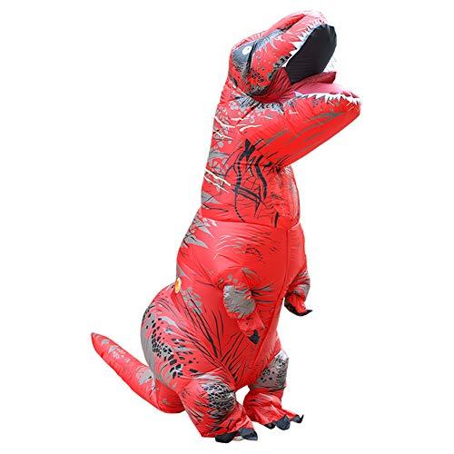 (BOFEISI T-Rex Kostüm Erwachsene Aufblasbare Dinosaurier Halloween Cosplay 4,9-6,2 Fuß Wasserdicht Polyester Fancy Dinosaurier Kleid,Red)