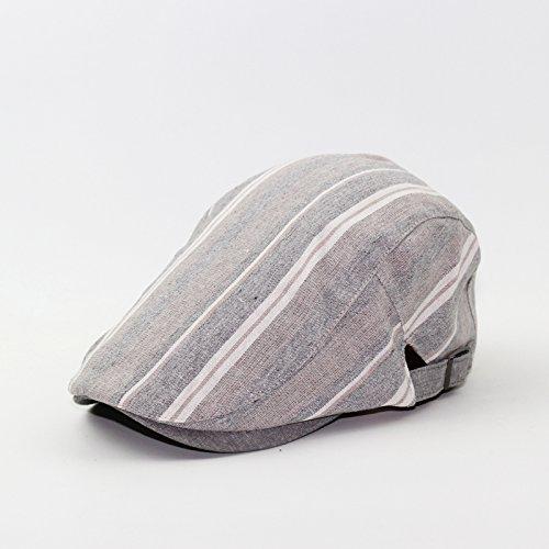 GUYOULY Chapeau D'été Hommes Coton Et Lin Chapeau Style National Chapeau Femelle Simple Plage Béret Littéraire Rayé Hommes Chapeau