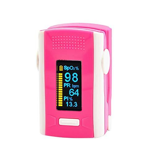 FVD Pulsoximeter-Fingerspitzen-Blutsauerstoffsättigungsmonitor mit schnellen Messwerten und LED-Bildschirm für deutlich sichtbaren Lanyard-Display-Alarm,Pink