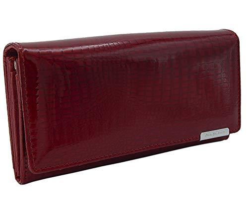 Lange Leder Damen Geldbörse (Damen Leder Geldbörse Geldbeutel groß, Portemonnaie lang, Damen Portmonee, Damengeldbeutel viele Karten-Fächer (Rot))