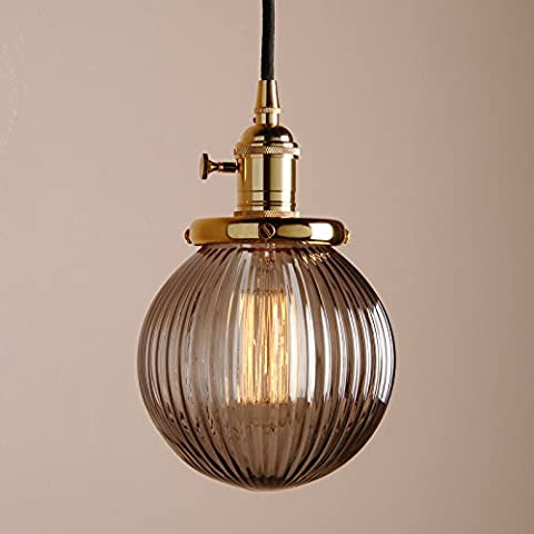 Pathson 15cm Industrial Modern Vintage Retro Edison Switch Pendant Light Loft Bar Kitchen Island Hanging Ceiling Light Lamp Fixture Chandelier with Globe Ribbed Grey Glass Shade (Gold)