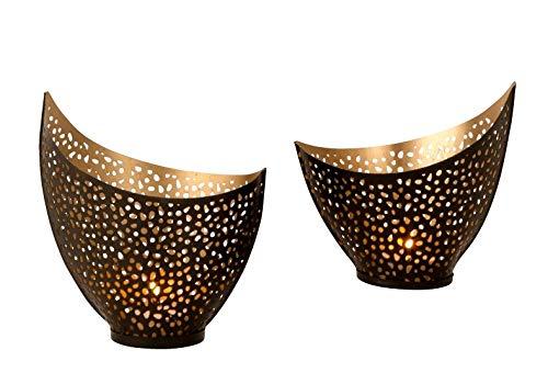 Lifestyle & More Windlichthalter Teelichthalter in Sichelform 2 Größen schwarz/Gold aus Metall Höhe 12+15 cm