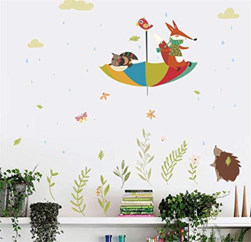 6b4967aa4c62 Cartoon Fox Hedgehog Umbrella Children 'S Fondo De La Pared Decoración De  La Etiqueta Engomada De La Etiqueta Engomada 60 * 90 Cm