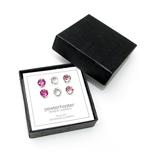 3-pairs-of-sterling-silver-stud-earrings-expertly-made-with-light-rose-fuchsia-and-clear-crystal-fro