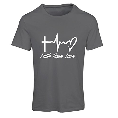 lepni.me T Shirts For Women Faith - Hope - Love - 1 Corinthians 13:13, Christian Quotes and Proverbs, Religious Sayings