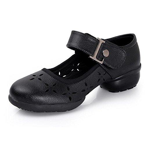 DIMAOL Scarpe Donna Vera Pelle Caduta Molla Comfort Tacchi Tacco Cubano di Abbigliamento Casual Rosso Nero Nero