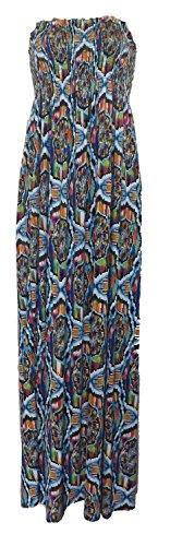 Neue Damen Scheren boobtube Maxi-Kleid Frauen trägerlosen lange Maxi gedruckt Sommerkleid Größe S/M- m / l Multi Zickzack