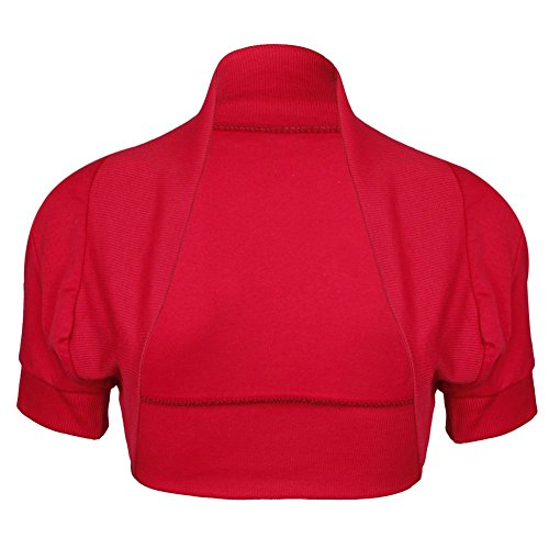 Janisramone femmes boléro de plaine encolure côtelée haussent les épaules haut à capuchon manches coton Rouge