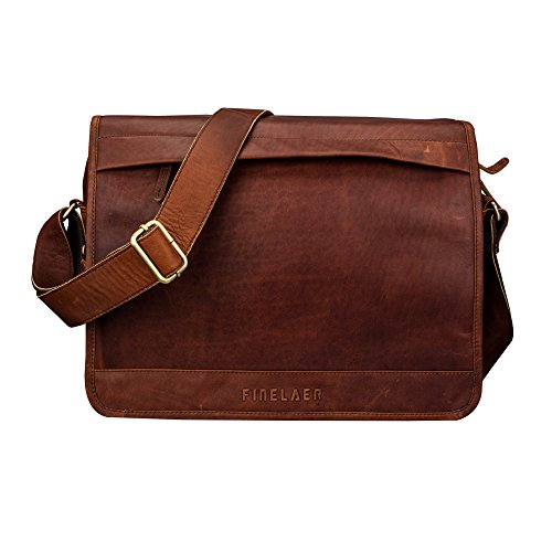 Leder Laptop Aktentasche Schulter Messenger Bag Dark Braun | finelaer