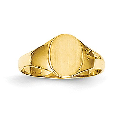 Lex & Lu 14K Gelb Gold Hohe Poliert Oval Baby Siegelring