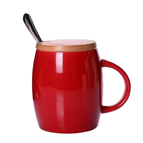 FOKOM 415ml Ceramica tazza con coperchio e cucchiaio di acciaio [415ml Ceramics Mug with Lid and Steel Spoon]