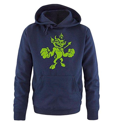 Comedy Shirts - LITTLE DEVIL - Uomo Hoodie cappuccio sweater - taglia S-XXL different colors blu navy / verde