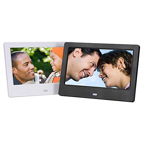 JIANGYE Slim Design Digital Photo Frame High Resolution IPS 7-Zoll MP3 Music HD Video Playback Behind The Wall Auto On/Off Timer Ultra Built-in Speaker Ultra High Resolution Photo