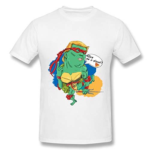 Classic Give Me A Pizza Turtles Präsident Heros Basic Kurzarm T-Shirt Ninja Turtles aus den Schatten T-Shirt Ninja Turtle Games Tops für Männer Weiß 5XL