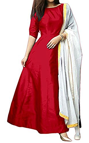 Janvi Sales women's tapeta silk gown salwar suit for women(red_tapeta_free size)