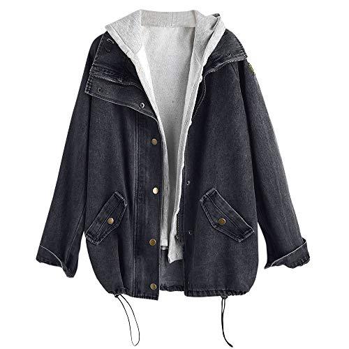 Rosegal Damen Plus Lose Kordelzug Button Up Hooded Cotton Zweiteilige Jeans Jacke (L, Schwarz)