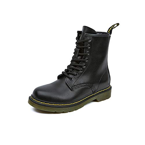 LHLZCVZ Love-Shaped 8 British Style High-Top Boots, British Martin Boots Women's Belt Flat-Bottomed Motorrad-Boots, schwarz - Größe: 39 EU -
