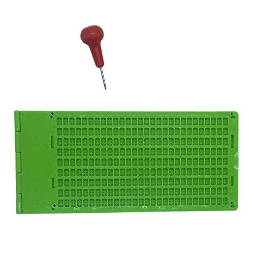 Brailletafel 9 Zeilen 28 Zeichen pro Zeil Braille Schreibtafel mit Griffel 2 stücke (Grün)