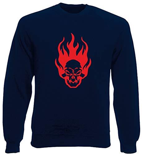T-Shirtshock Rundhals-Sweatshirt fur Mann Blau Navy FUN0420 1810 Flaming Skull Flaming Skull Sweatshirt