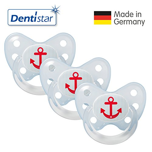 Preisvergleich Produktbild Dentistar® Latex Schnuller 3er Set - Nuckel Größe 3, ab 14 Monate - Naturkautschuk Beruhigungssauger für Babys - Anker, blau