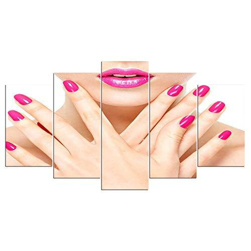 Dzrmb ArtSailing HD Beauty Print 5 Stück Beauty Salon Poster Nail Art Poster Maniküre Schönheit Wandkunst auf Leinwand Friseur Poster @ 20x35_20x45_20x55_cm_unframed -