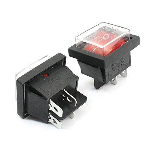 2Pcs AC 125V / 20A 250V / 15A 4-Terminal-DPST Red Wasserdicht Rocker Switch -