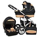 Raff Largo System Poussette Bébé 3 en 1 : Poussette hamac, nacelle et siège auto + sac à langer + habillage pluie + moustiquaire
