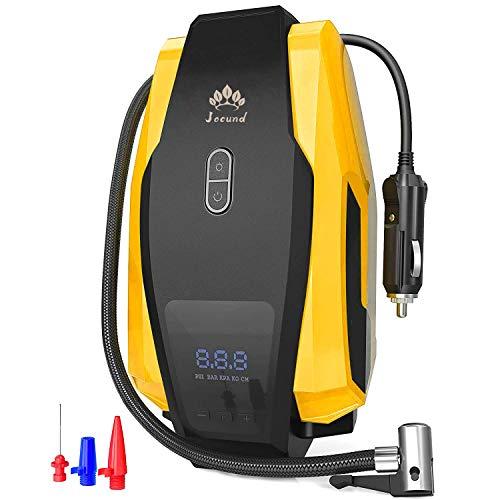 Compressore Portatile Per Auto - 12V, 40L/M, Mini Pompa Elettrica con Manometro Digitale, 120Psi (8 Bar), Spegnimento Automatico, Torcia LED Modalità, 3 Adattatori Ugelli