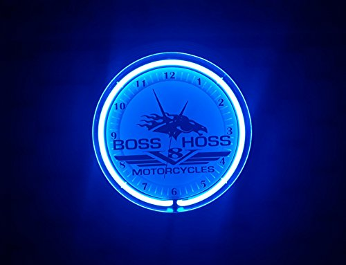 Neon Orologio Boss Hoss Motor Cycles Sign Orologio da parete luci al neon blu Workshop Wall Clock Blue Neon