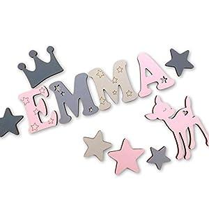7cm Holzbuchstaben, Türbuchstaben, Kinderzimmer I In tollen Farbkombinationen für Jungen und Mädchen I Inkl. 2 Sternen…