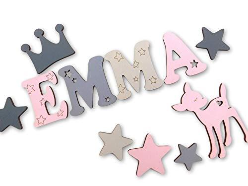 7cm Holzbuchstaben, Türbuchstaben, Kinderzimmer I In tollen Farbkombinationen für Jungen und Mädchen I Inkl. 2 Sternen sowie Klebepads I Tolles Geburtsgeschenk oder Taufgeschenk