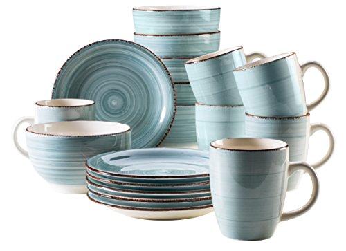 Domestic by Mäser, Serie Bel Tempo, Frühstücksset 18-teilig, Keramik Geschirr für 6 Personen in Holzoptik, Handbemalt in der Farbe Hellblau