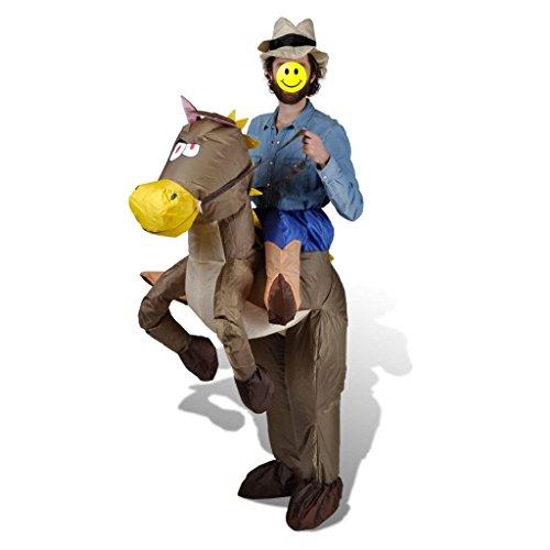 vidaXL Cowboy & Pferd Kostüm Aufblasbar Faschingkostüm Karnevalkostüm Karneval (Kostüm Aufblasbares Cowboy)
