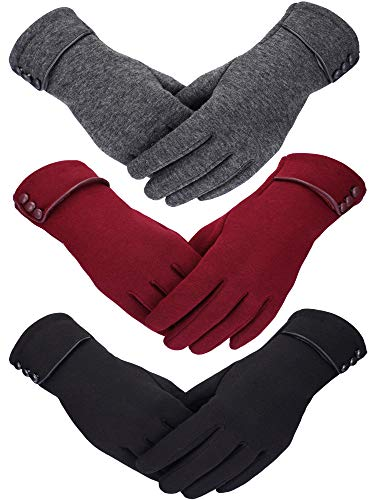 3 Paar Damen Winter Handschuhe Warmer Handschuhe Winddicht Plüsch Handschuhe für Damen Mädchen Winter Verwendung (Schwarz, Grau, Weinrot)