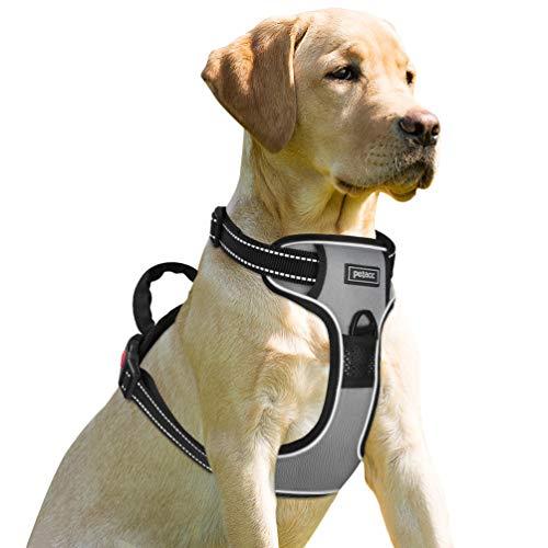 Petacc Reflektierendes Hundegeschirr Verstellbares Hundegeschirr No Pull Hundegeschirrweste mit Post-positiver D-Ringschnalle für Hunde, Grau, L