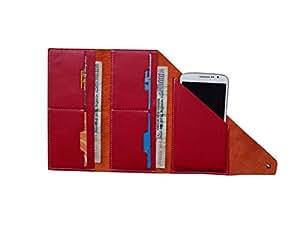 ATV Genuine Leather ORANGE Designer Tri-Fold Pouch Case Cover For HTC Desire 530