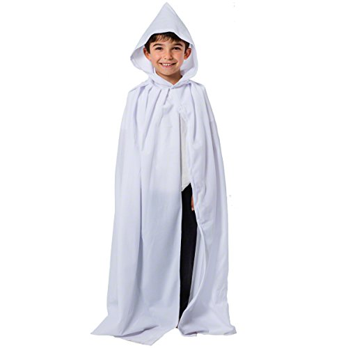 Kostüm Mädchen Hobbit - White Hooded Cloak - Kids Accessory 7 - 9 years