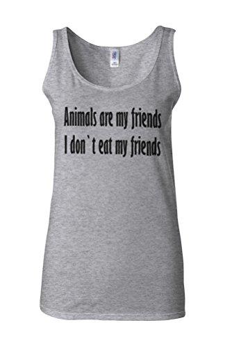 Animals Are My Friends Funny Novelty White Femme Women Tricot de Corps Tank Top Vest Gris Sportif