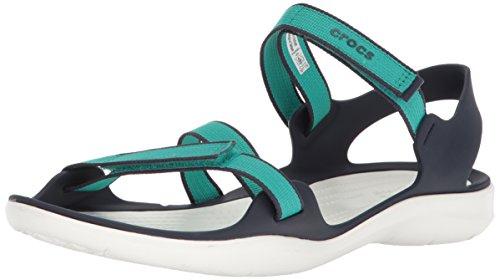 new product 92c3c db376 Crocs Damen Swiftwater Gurtband W SPORT Sandale, 8 US, blau grün - marine