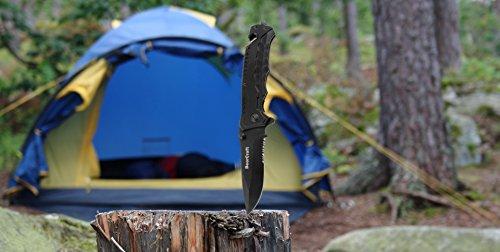 Klappmesser schwarz | Scharfes Outdoor Survival Taschenmesser mit Wellenschliff | Kleines Einhandmesser mit Edelstahlklinge und Aluminiumgehäuse | Einsetzbar für Freizeit, Arbeit, Wandern, Camping oder als Geschenk - 3
