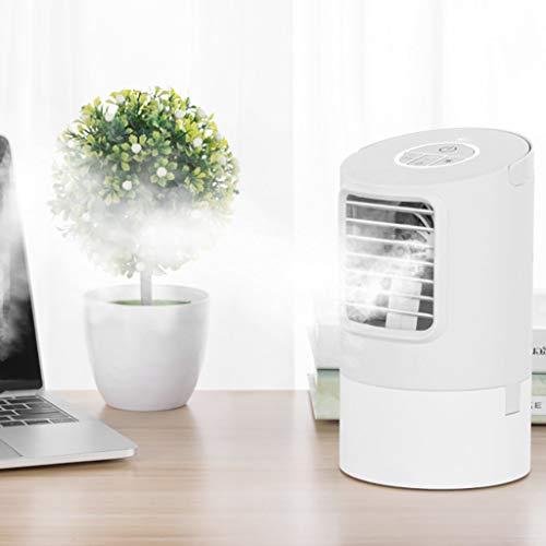 TianranRT★ Kleiner Wiederaufladbarer Lüfter - Lüfter Für Tischbefeuchter Mit Kreisförmiger Klimaanlage Und 7-Farben-Led-Lüfter - Weiß (130X130X228Mm)