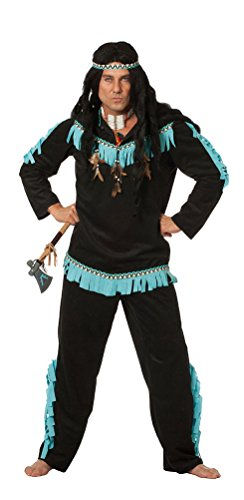 Karneval-Klamotten Kostüm Indianer Kostüm Herren Häuptling schwarz-türkis Karneval Herrenkostüm inkl. Kopfschmuck Größe 56