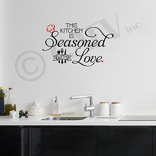 Wall Sayings Vinyl Lettering This Kitchen is Seasoned with Love Vinyl Schriftzug Wand Aufkleber Aufkleber 12.5