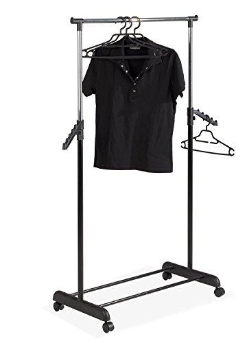 Rollgarderobe Garderobenwagen Kleiderständer auf Rollen TIANA | Schwarz-Chromfarbig | Höhenverstellbar