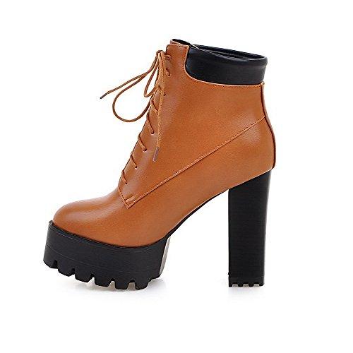 VogueZone009 Donna Tacco Alto Bassa Altezza Puro Allacciare Stivali con Nodo Marrone