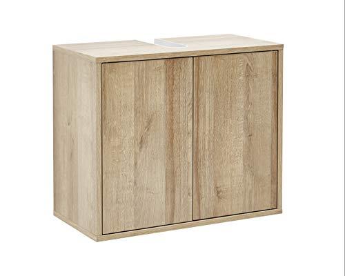 FACKELMANN Waschbeckenunterschrank Finn/Push-to-Open/Maße (B x H x T): ca. 60 x 50 x 30,5 cm/Schrank fürs Bad mit 2 Türen/Korpus: Braun hell/Front: Braun hell/Rahmendekor: Braun hell