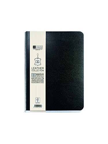 basicos-mr-10413-flexible-leather-notebook-8th-edition-300-pages-squared-with-rubber-black